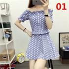 Set: Off-shoulder Short-sleeve Print Top + Mini A-line Skirt
