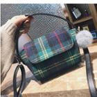 Pompom Plaid Crossbody Bag