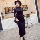 Set: Long Sleeve Mock Neck Top + Spaghetti Strap Midi Velvet Dress