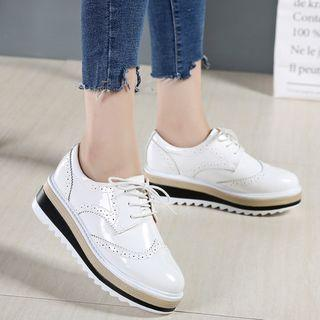 Genuine Leather Platform Brogue Oxfords
