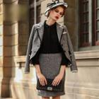 Set: Piped Jacket + Pencil Skirt