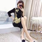 3/4-sleeve Embroidered Midi Sheath Dress