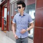 Short-sleeve Cuffed Plaid Shirt