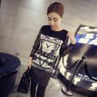 Lace Panel Printed Long-sleeve T-shirt