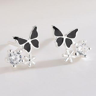 925 Sterling Silver Rhinestone Butterfly Earring Es676-2 - 1 Pair - One Size