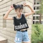Lettering Cropped Sleeveless Top