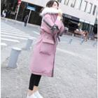 Furry-trim Bow-accent Hooded Padded Coat