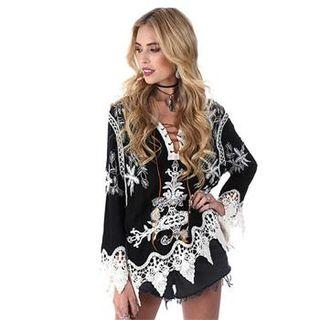 3/4-sleeve Crochet Hem Lace-up Top Black - One Size