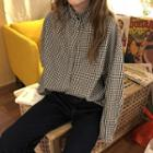 Stand Collar Gingham Shirt Gingham - Black & White - One Size
