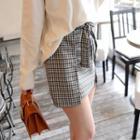 Beribboned Check Mini Wrap Skirt