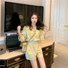 Elbow-sleeve Lapel Collar Plaid Playsuit Yellow - One Size
