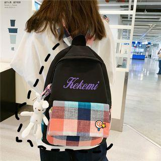 Lettering Plaid Panel Lightweight Backpack
