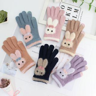 Chenille Rabbit Touchscreen Gloves