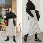 Crinkled Patterned Midi Skirt