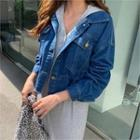 Drawstring-waist Denim Jacket