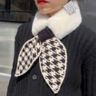 Houndstooth Bow Faux Fur Scarf