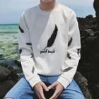 Long-sleeve Feather Printed T-shirt