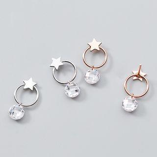 925 Sterling Silver Bead & Star Dangle Earring