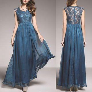 Lace Panel Sleeveless A-line Evening Gown