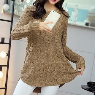 Long-sleeve Cable-knit Top