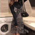 Long-sleeve Knit Top / Spaghetti Strap Sequined Mini Dress