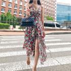 Floral Print Slit-front Pinafore Dress