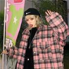 Plaid Oversize Jacket Plaid - Pink - One Size