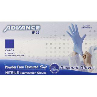 Diamond Gloves Advance Powder Free Textured Soft Nitrile Examination Gloves - 100pcs