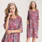 Elbow-sleeve All Over Print Dress Pattern - Multicolour - One Size