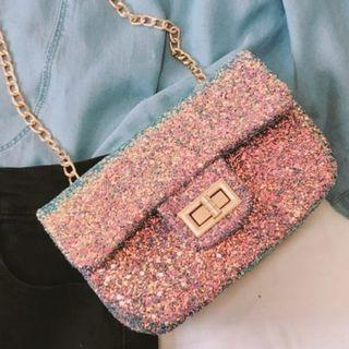 Chain Strap Glittered Shoulder Bag