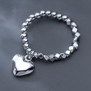 Heart Sterling Silver Dangle Earring 1 Pc - Silver - One Size