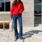 Roundneck Crop Sweatshirt In Red