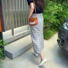 Plaid Linen Blend H-line Maxi Skirt