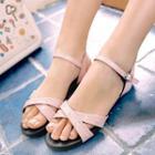 Cross Strap Rhinestone Sandals