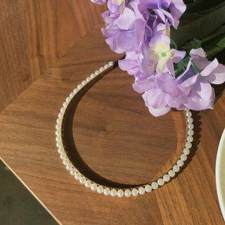 Faux-pearl Hair Band Gold - One Size