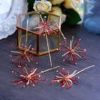 Rhinestone Bridal Hair Stick Set Red - One Size