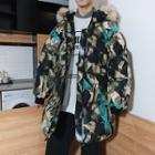 Furry Hood Camo Padded Coat