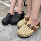Woven-straw Platform Slide Sandals