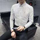 Long-sleeve Letter Striped Shirt