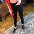 Slit-hem Brushed-fleece Lined Skinny Pants