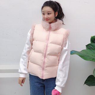 Furry Trim Padded Vest