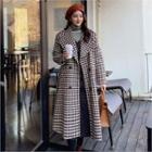 Shawl-lapel Houndstooth Coat