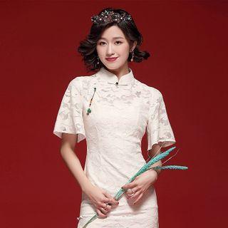 Short-sleeve Slit Lace Qipao
