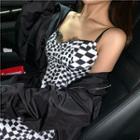 Lace Check Sleeveless Dress