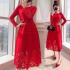 Long-sleeve Lace Midi Evening Dress