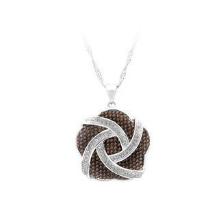925 Sterling Silver Flower Pendant With White And Brown Cubic Zircon And Necklace
