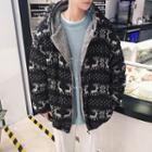 Fleece-lined Patterned Hooded Zip Jacket