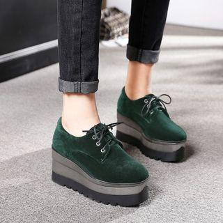 Lace-up Platform Velvet Shoes