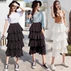 Midi A-line Tiered Chiffon Skirt