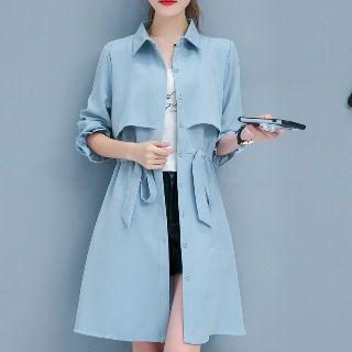 Drawstring Plain Buttoned Coat